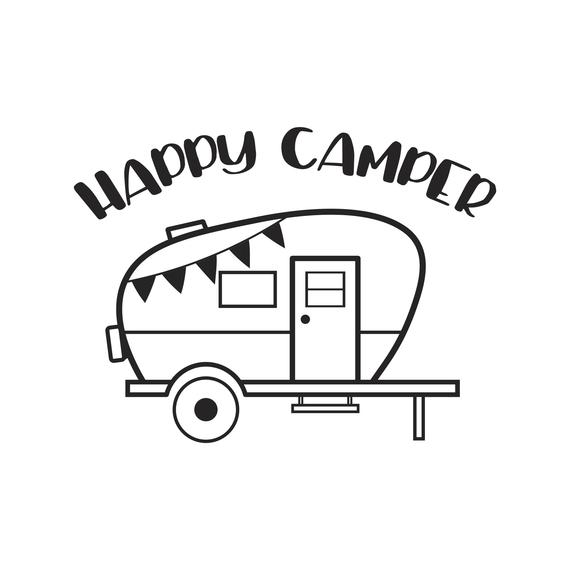 Happy Camper Clipart Black And White